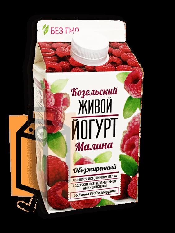 Йогурт Козельский Живой малина обезжиренный 450г пюр-пак