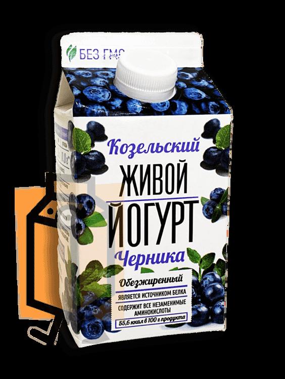 Йогурт Козельский Живой черника обезжиренный 450г пюр-пак