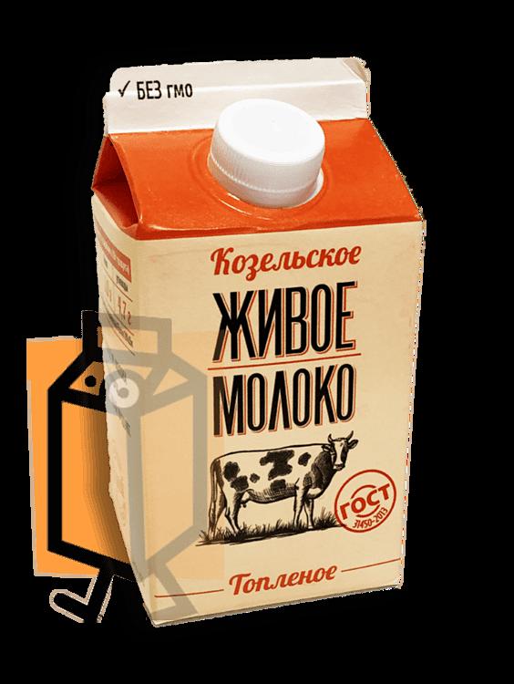 Молоко топлёное Козельское Живое 4% 0,45л пюр-пак