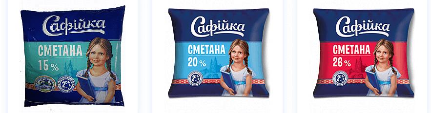 Сметана в плёнке Полоцкого молочного комбината